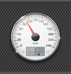 Speedometer round white gauge with chrome frame vector