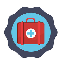 Sticker red first aid kit medications tools vector