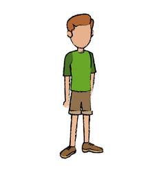 Teenage boy cartoon posing traveler vacation vector