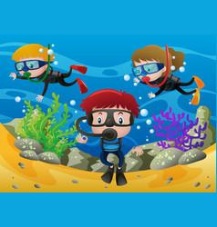 three kids diving under the ocean vector image vector image