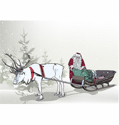 winter background with santa claus vector image vector image