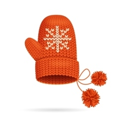 Winter Red Mitten vector image