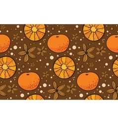 Star anise and tangerine christmas pattern vector