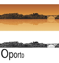 Oporto skyline in orange background vector