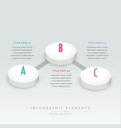 3d style three steps infographic template vector