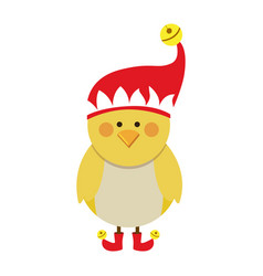 silhouette of chicken with boots and christmas hat vector image