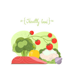 Selection of healthy food vector