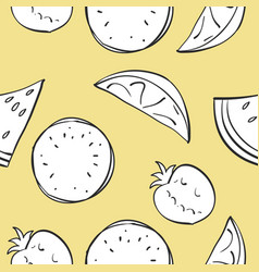 doodle of fruit with yellow background vector image
