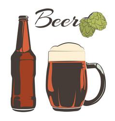 Vintage beer set - bottle and goblet with hops vector