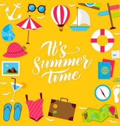 summer lettering postcard vector image