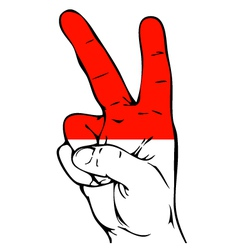 Peace sign of the indonesian flag vector