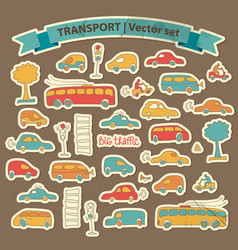 Transportation doodle icon set vector