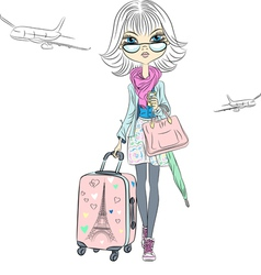 girl with suitcases travels the world vector image