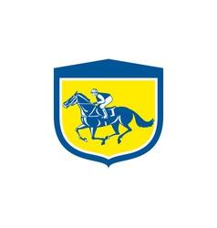 Jockey horse racing side view shield retro vector