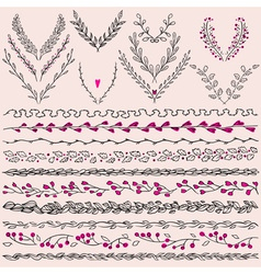 Set of hand drawn floral graphic design elements vector image