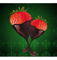 strawberry in chocolate illust vector image