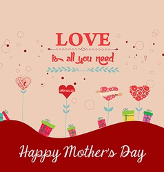 Happy mothers day background with trees heart vector