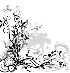 Flower composition in black and white colors on a vector