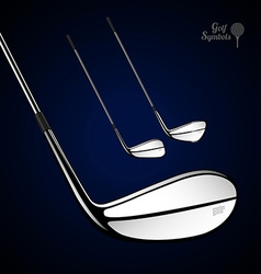 Golf sticks on the dark background as design vector