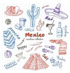 Hand drawn doodle Mexico symbols set vector image