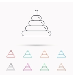 Pyramid baby toy icon child tower game sign vector