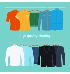 Mens clothes on hangers vector