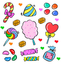 Art food candy various in doodle style vector