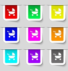Baby stroller icon sign set of multicolored modern vector