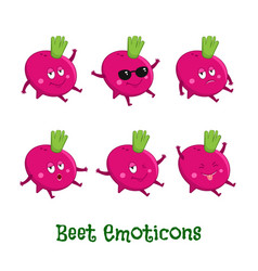 Beetroot smiles cute cartoon emoticons emoji icons vector