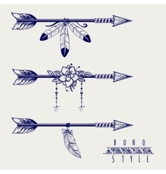 Boho style arrows feathers and flowers vector image vector image