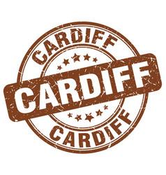 Cardiff brown grunge round vintage rubber stamp vector