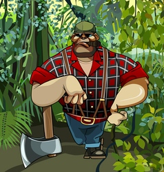 Cartoon hefty serious woodcutter is leaning vector