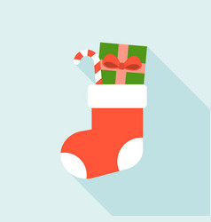 christmas sock and present box vector image vector image