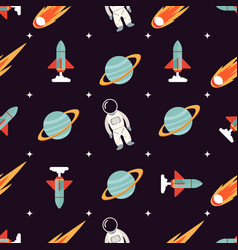 Cosmic pattern with spaceman rocket planet vector
