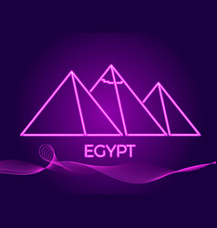 Egyptian pyramids of neon icon in the style vector