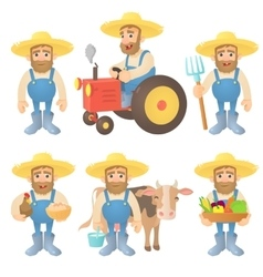 Farmer concept set cartoon style vector