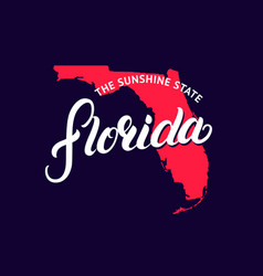 Florida state hand written lettering word and map vector