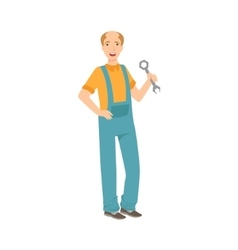 Man plumber with a wrench part of happy people vector