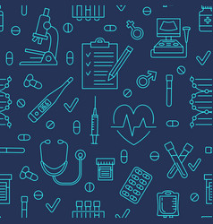 seamless pattern medical icons clinic vector image vector image