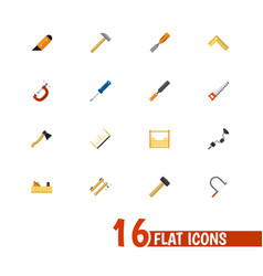 set of 16 editable tools flat icons includes vector image