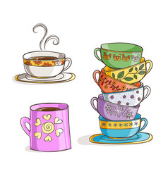set of cups and mug vector image vector image