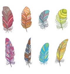 Set of Ornamental Boho Style Feather Hippie Design vector image vector image