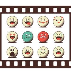 Set of retro emoji emoticons vector