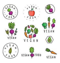 Set of vegan food badges vector