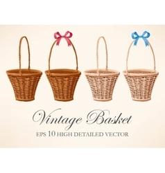 Set of vintage baskets vector image