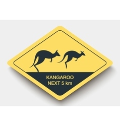 Sign attention kangaroo and shadow vector