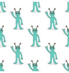 Smiling alien seamless pattern vector