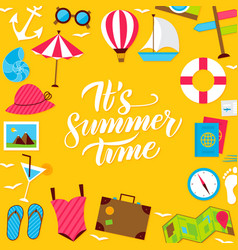 Summer lettering postcard vector