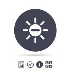 Sun minus sign icon heat symbol brightness vector