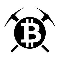 symbol of cryptocurrency bitcoin mining vector image vector image